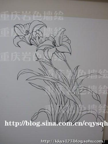 兰花意境背景手绘黑白