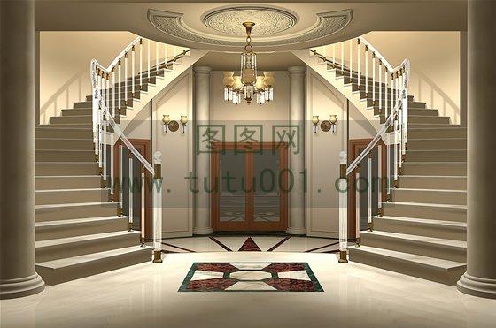 3d的华丽欧式宫殿豪宅室内建筑图片