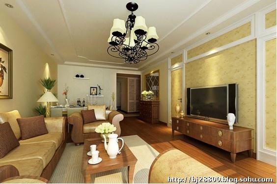 客厅顶面做了简约欧式的处理,用欧式顶角线和欧式顶线,电视高清图片