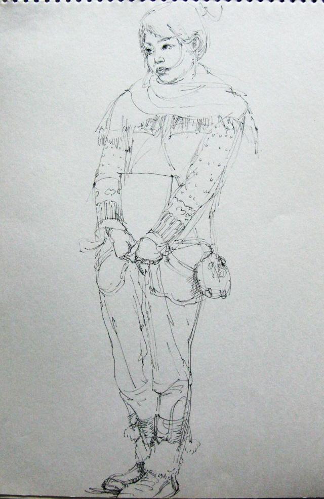 qq头像铅笔画女生黑白展示