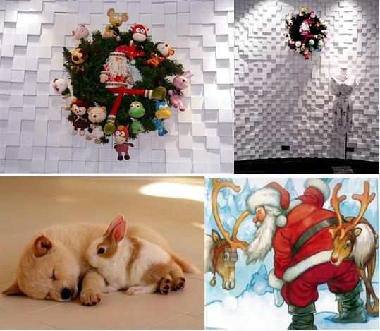 由十二个可爱的生肖动物组合而成的时尚时钟烂漫演绎。每年圣诞老人的指针都会指向不同的小动物,伴随着欢快的圣诞铃声演绎着绝美的狂想曲,今年活泼可爱的小粉兔幸福地第一个被圣诞老人脚指到,该花环进过公司票选为人气最高的圣诞花环,陈列在设计室楼层门口。 By twelve zodiac lovely animals combination of a fashion clock flourishes deduce.