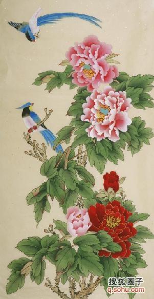画家4尺牡丹工笔画 工笔画牡丹 中国工笔画牡丹-国画 工笔花鸟 牡丹美图